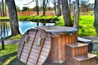 2 person hot tub with external wood burner