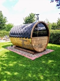 Barrel sauna with half panoramic window in rear wall