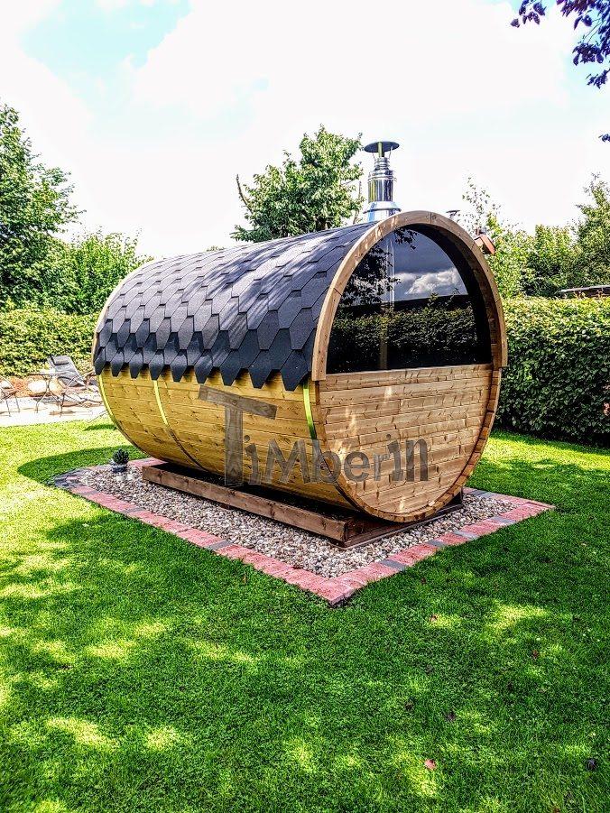 Barrel sauna with half panoramic window in rear wall