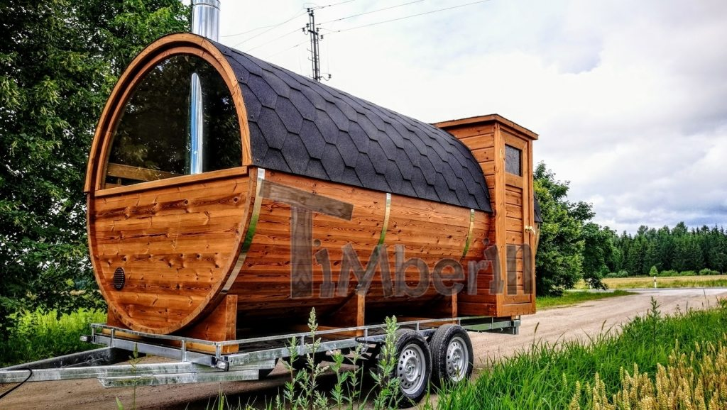 Mobile outdoor barrel sauna with half panoramic window on the trailer (1)