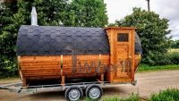Mobile outdoor barrel sauna with half panoramic window on the trailer (2)
