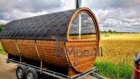 Mobile outdoor barrel sauna with half panoramic window on the trailer (4)