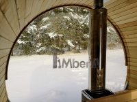 Outdoor barrel sauna with full panoramic window in winter (3)