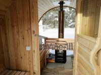 Outdoor barrel sauna with full panoramic window in winter (4)