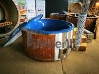 Outdoor hot tub 6 8 person jacuzzi with integrated wood burner