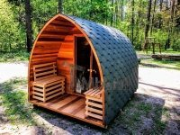 Outdoor sauna iglu design red cedar (1)
