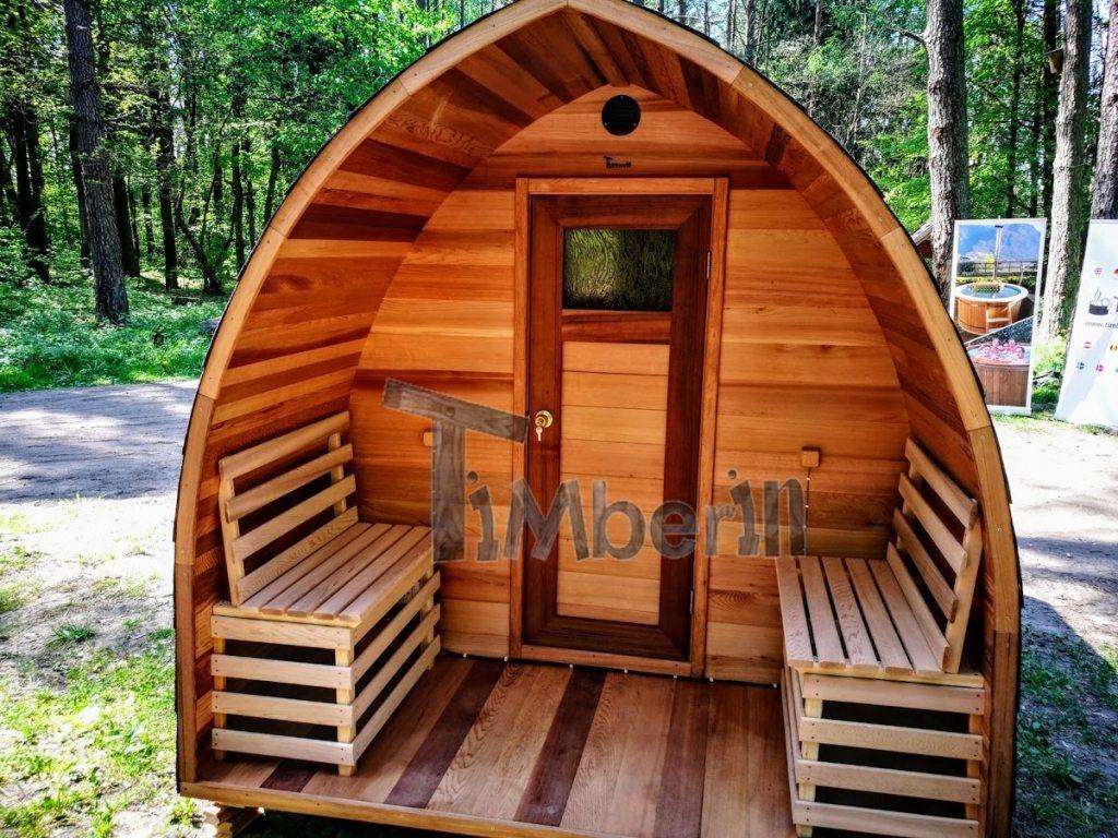 Outdoor sauna iglu design red cedar 2