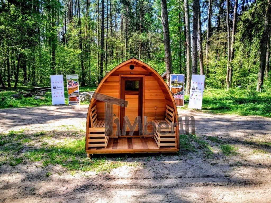 Outdoor sauna iglu design red cedar (3)