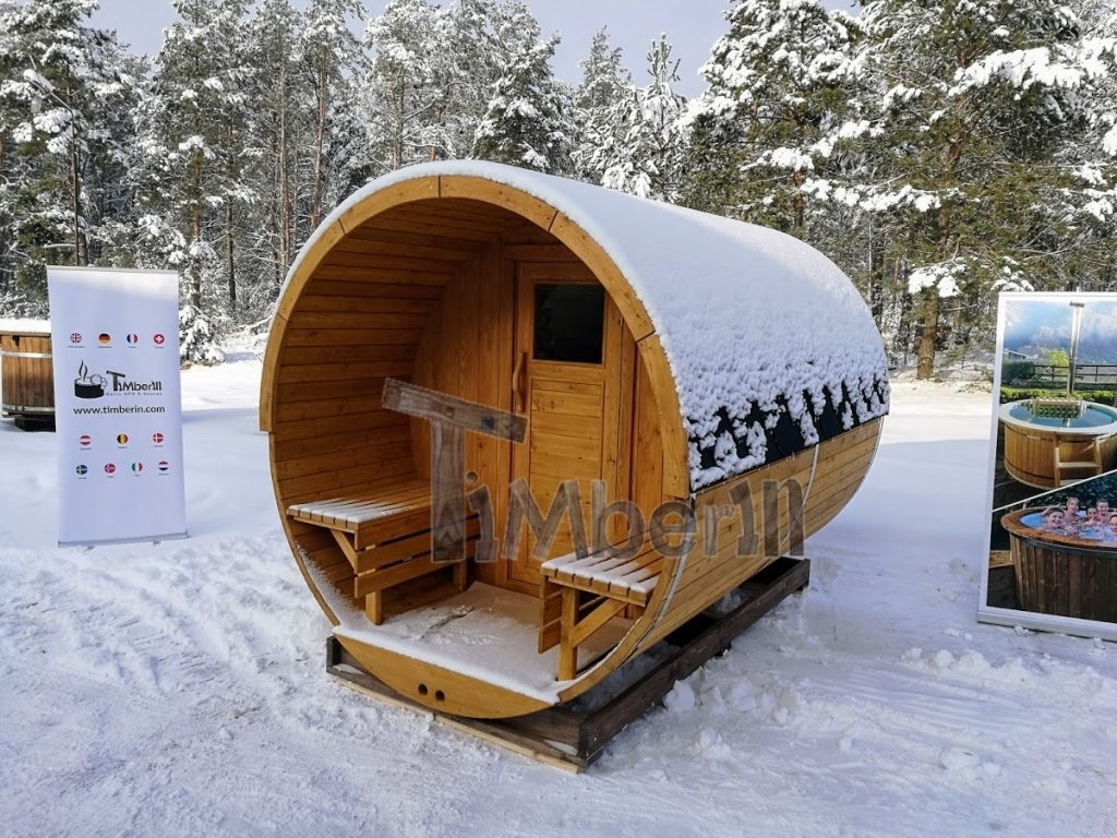 Outdoor sauna with a porch in winter