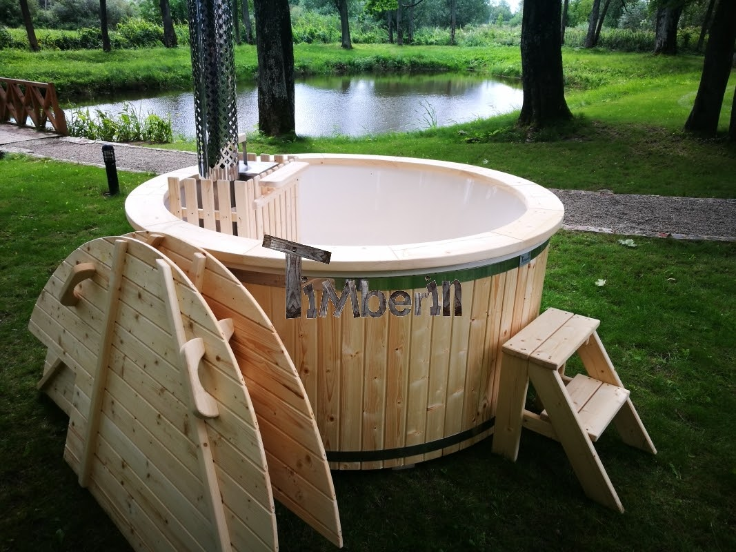 wooden water tub outdoor barrel photo with stock hot modern stairs spa new