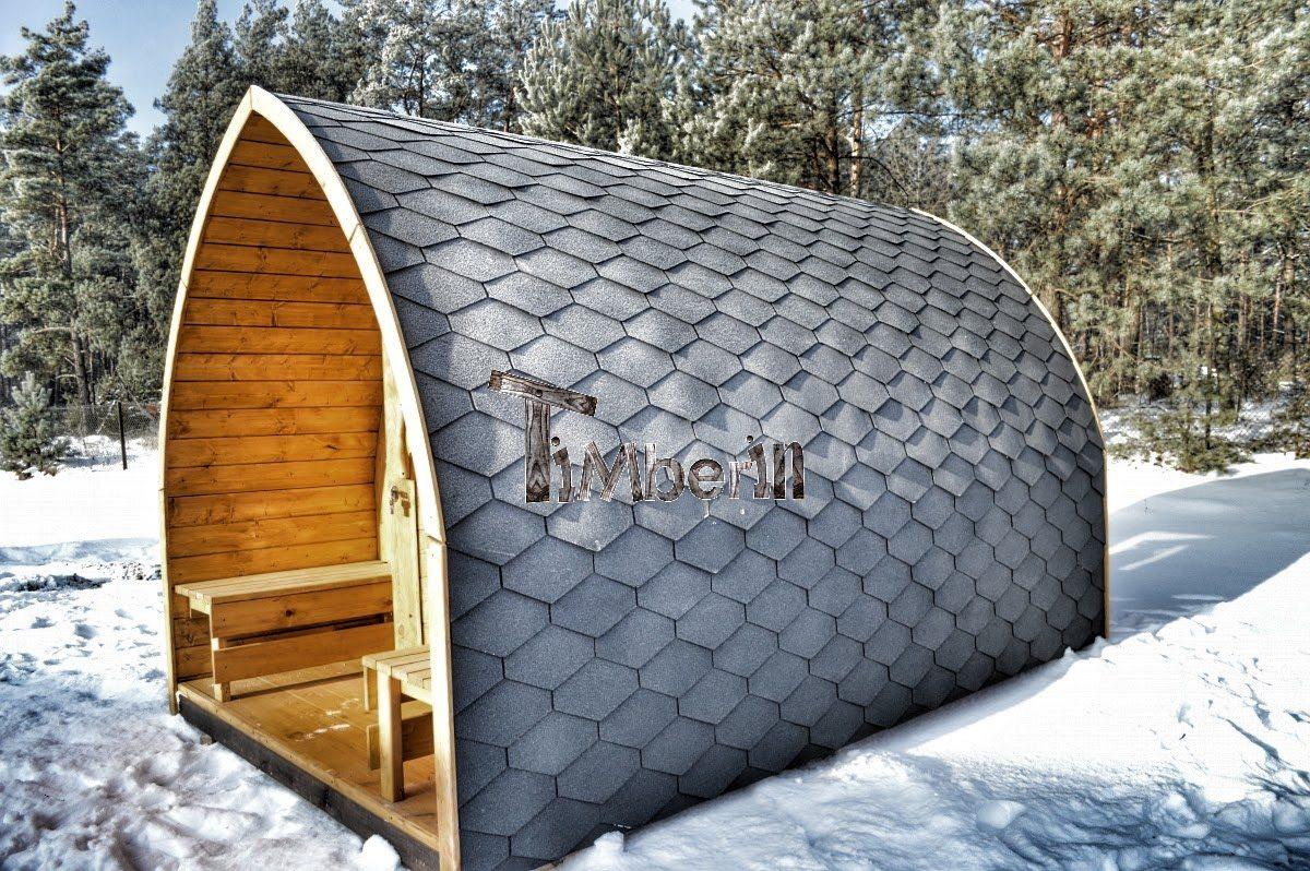 Igloo sauna with panoramic window