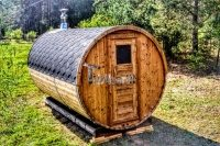 Barrel sauna with wood fired Harvia heater