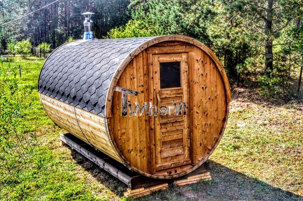 Barrel sauna with wood fired Harvia heater