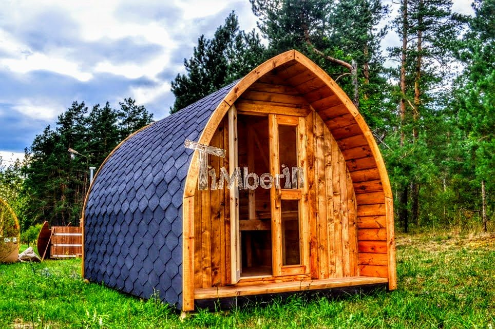 Camping pod with a hot tub