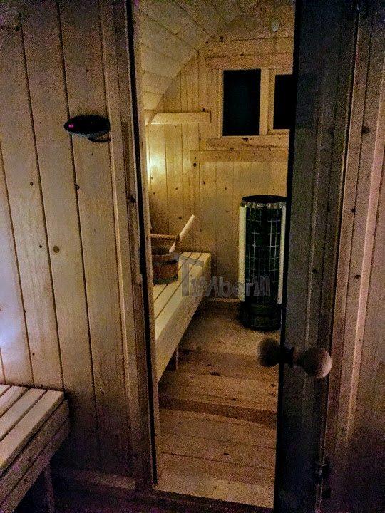 DIY outdoor sauna project - changing room with glass doors in between
