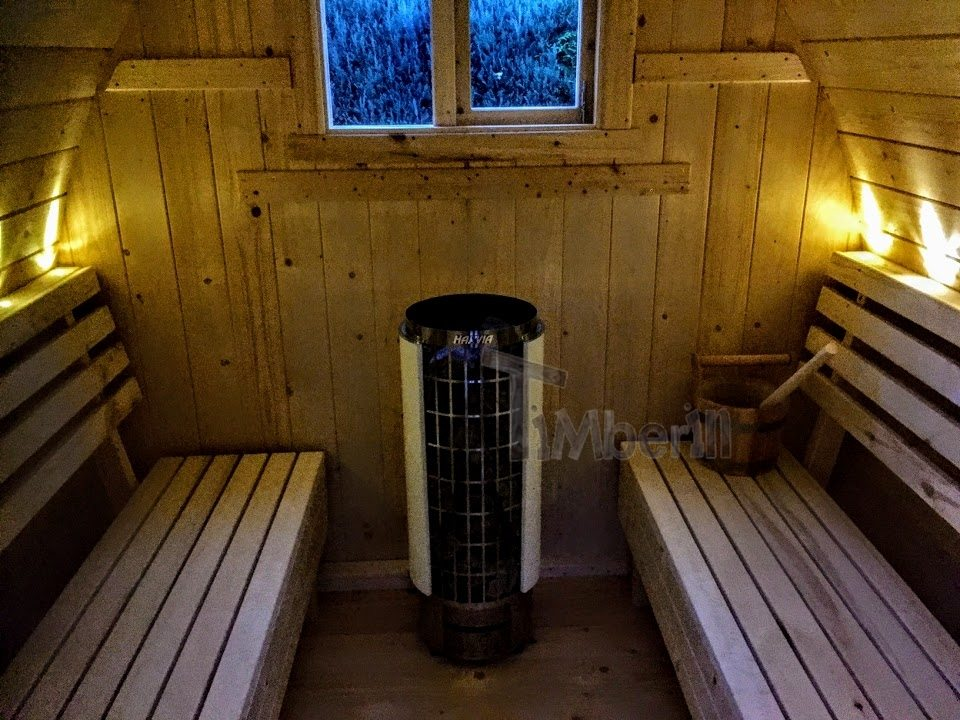 DIY outdoor sauna project with LED lights and electric harvia cilindro heater