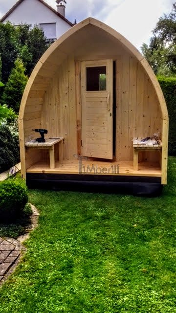 DIY outside garden sauna - doors and front seats are completed