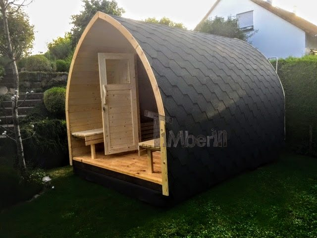 DIY sauna project - pictured from right side - finished