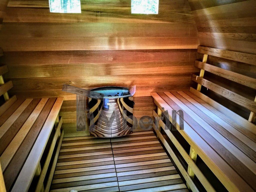 Garden sauna with harvia vega electric heater