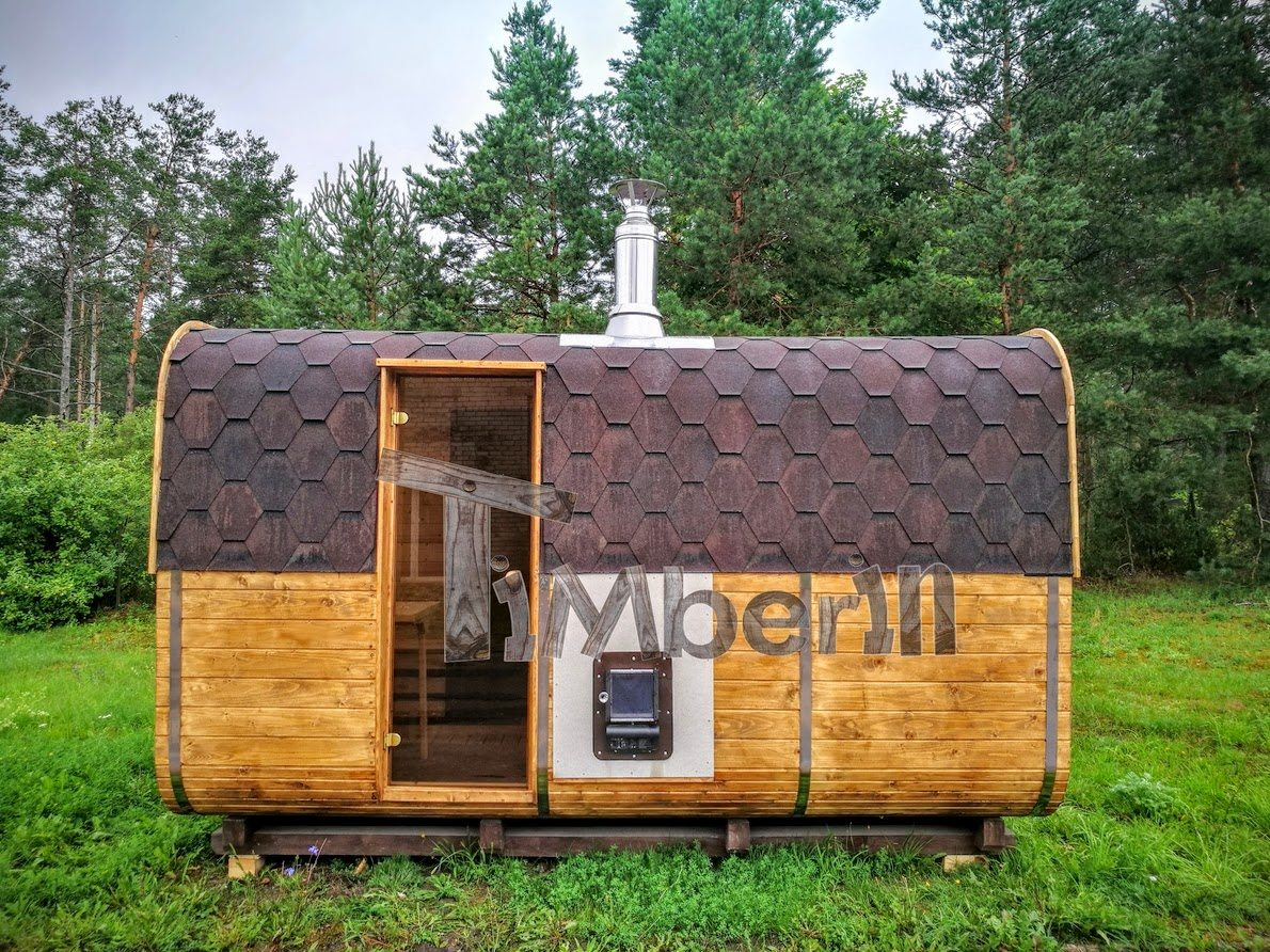Rectangular square wooden sauna